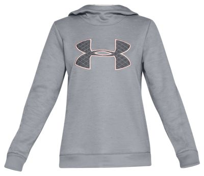 Under Armour Synthetic Fleece Big Logo Hoodie For Ladies Steel/flushed Pink S