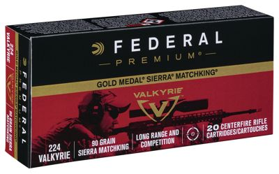Federal Premium Gold Medal Centerfire Rifle Ammo – 90 gr. – .224 Valkyrie