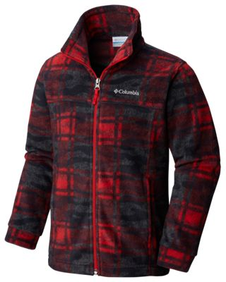 Columbia Zing III Fleece Jacket for Toddlers or Boys – Red Spark Camo Plaid – S