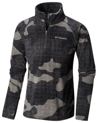 Columbia Glacial III Fleece Printed 1/2-Zip Jacket for Kids – Grill Camo Twill – L