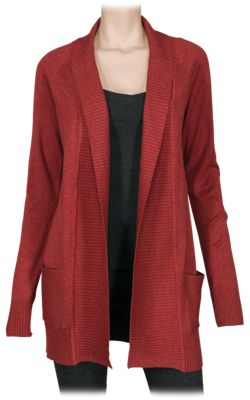 Natural Reflections Paneled Open-Front Cardigan for Ladies - Picante - M