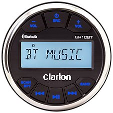 Clarion GR10BT Bluetooth Marine USB/MP3/WMA Gauge Hole Receiver with 2 Marine Speakers