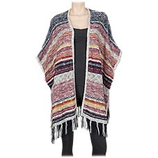 Natural Reflections Striped Fringe Ruana for Ladies