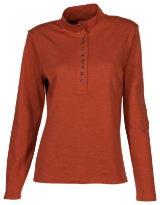 Natural Reflections 10-Button Mock Turtleneck for Ladies - Picante - XL