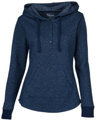 Natural Reflections Fleece Hoodie Henley for Ladies - Navy - L