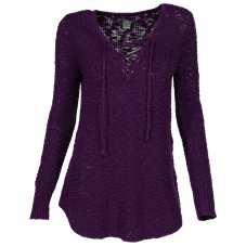 Natural Reflections Lace-Up Sweater for Ladies