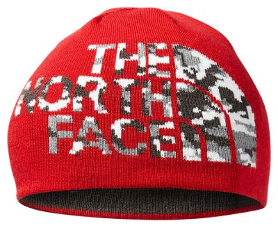 The North Face Anders Beanie for Kids – TNF Red/Asphalt Grey Camo – S