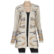 Natural Reflections Reverse Jacquard Long Cardigan for Ladies
