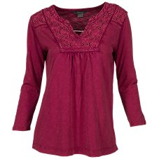 Natural Reflections Acid-Washed Notch-Neck Top for Ladies