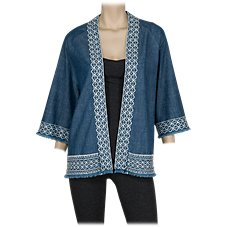 Natural Reflections Chambray Embroidered Kimono for Ladies