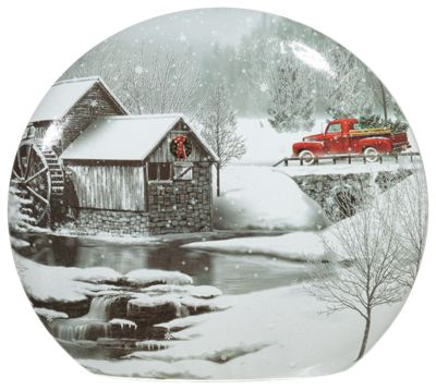 Stony Creek Round Lighted Glass Vase with Red Truck and Mill