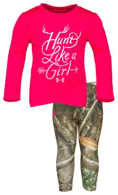 Under Armour Hunt Like a Girl Shirt and Pants Set for Baby Girls – Penta Pink/Realtree Edge –
