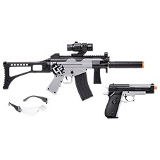 Game Face Ghost Affliction AEG Airsoft Rifle and Spring Powered Airsoft Pistol Kit