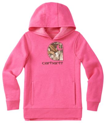 Carhartt Embroidered Camo C Sweatshirt for Girls Pink/Realtree Xtra L