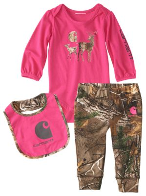 Carhartt Camo Deer Bodysuit, Leggings, and Bib Set for Babies Pink/Realtree Xtra 24 Months