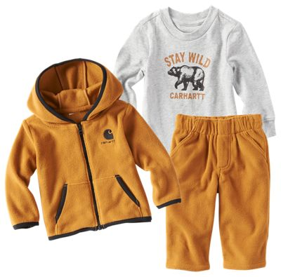Carhartt 3 Piece Stay Wild Jacket, Pants, and Shirt Gift Set for Babies Carhartt Brown 12 Months