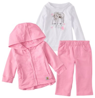 Carhartt 3 Piece Jacket, Pants, and Shirt Gift Set for Babies Rosebloom 9 Months