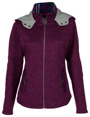 Natural Reflections Sweater Fleece Jacket for Ladies - Dark Purple - L