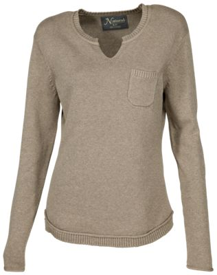 Natural Reflections Notch Neck Top for Ladies - Oatmeal Heather - 2X