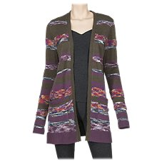 Natural Reflections Striped Open-Front Cardigan for Ladies