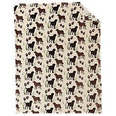 White River Dog Print Coral Fleece Throw