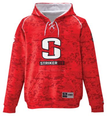 StrikerIce Hockey Hoodie for Men - Camo Red - L