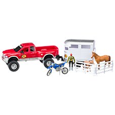 Bass Pro Shops Licensed Deluxe Dodge Ram and Horse Trailer Adventure Truck Playset for Kids