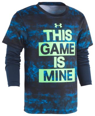 Under Armour This Game is Mine Slider T-Shirt for Kids – Circuit Blue/Electric Camo – 5