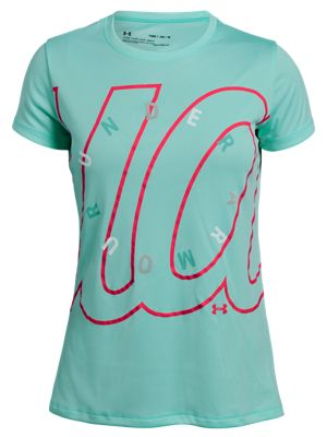 bb5ca689e Under Armour Branded Dial T Shirt for Girls Neo TurquoisePenta Pink S