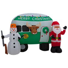 Bass Pro Shops 8' Santa and Snowman Camper Inflatable