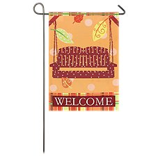 Evergreen Porch Swing Linen Garden Flag