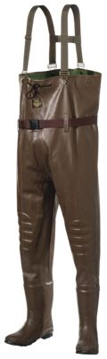 White River Fly Shop Rubber Boot-Foot Chest Waders for Men – Brown – 7