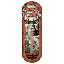 River's Edge Deer Camp Tin Outdoor Thermometer