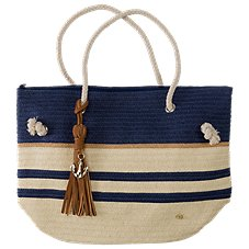 Dorfman Pacific Anchor Charm Stripe Tote Bag