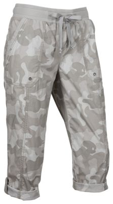 Natural Reflections Honey Creek Grommet Pocket Capri Pants for Ladies – Gray Camo – 22W