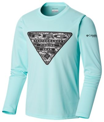 Columbia Terminal Tackle PFG Triangle Fill Digi Camo Graphic Long-Sleeve Shirt for Kids – Gulf Stream/Digi Camo Graphic – XS