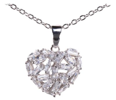 Amanda Blu 18'' Silver Baguette Heart Necklace