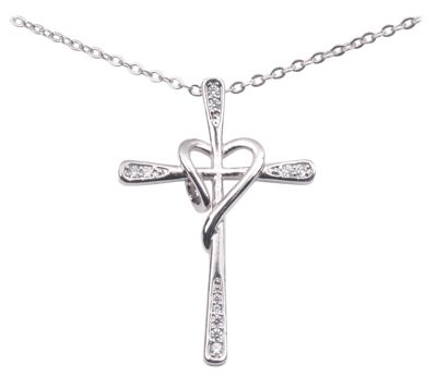 Amanda Blu 18'' Silver Pave Cross Heart Necklace