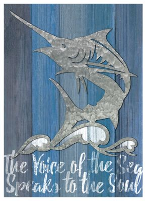 Reflective Art The Voice of the Sea Wood with Metal Wall Art