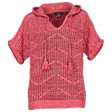 Natural Reflections Open-Knit Hooded Sweater for Ladies