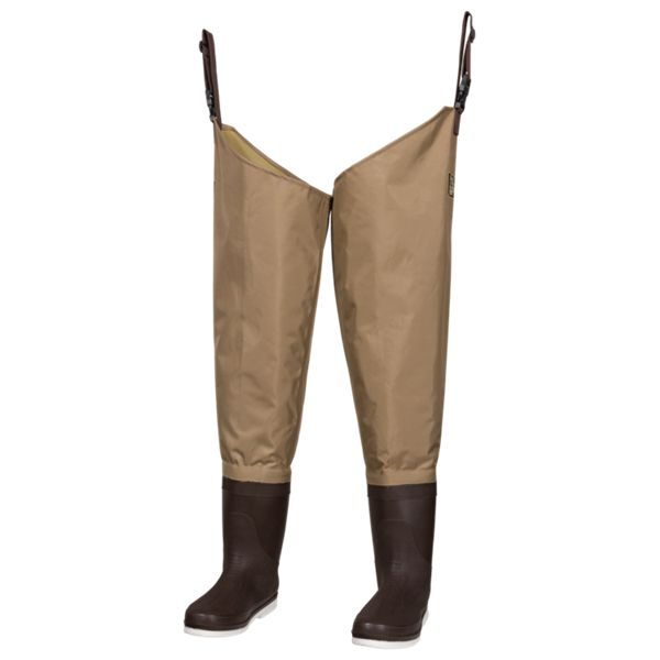White River Fly Shop Three Fork Felt Sole Hip Waders for Men - Light Brown - 11 Regular