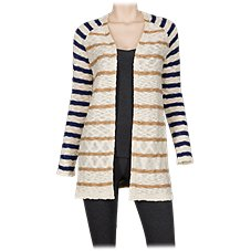 Natural Reflections Contrast Stripe Cardigan for Ladies