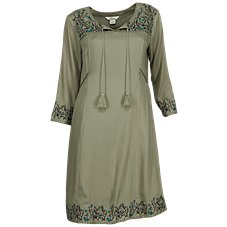 Bob Timberlake Embroidered Notch-Neck Dress for Ladies