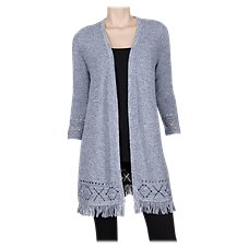 Natural Reflections Twisted Yarn Long Cardigan for Ladies