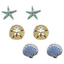 Periwinkle by Barlow Enameled Starfish, Sand Dollar, and Shell Earring Set