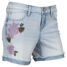 Natural Reflections Easy River Embroidered Denim Shorts for Ladies