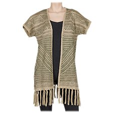 Natural Reflections Striped Jacquard Fringe Cardigan for Ladies