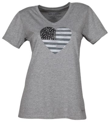Life is Good Watercolor Flag Heart Crusher Vee for Ladies - Heather Gray - M