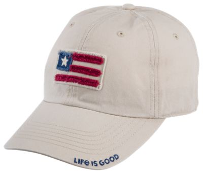 Life is Good Flag Applique Tattered Chill Cap