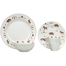 White River Animal Tracks Embossed 16-Piece Dinnerware Set Image